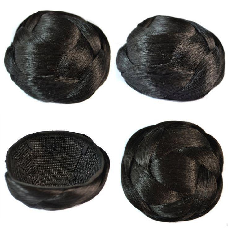 Q85  Synthetic chignon hair braided bun hairpiece color 1B elastic bride hair bun hair