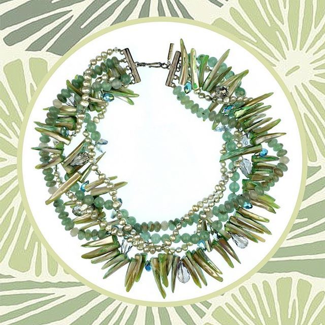 #NewArrivals JaredJamin.com #jewelry #statementnecklace #pearls #green #aventurine