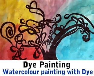 Painting with Watercolour dyes in school