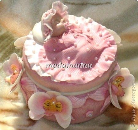 шкатулка для бирочек орхидея porcelana fria холодный фарфор лепка младенец baby