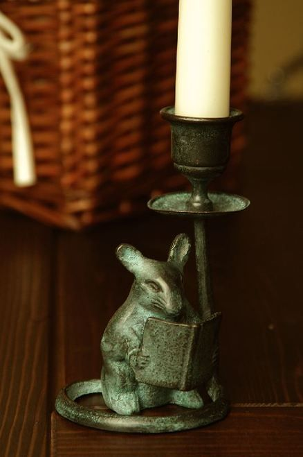 Bronze Mouse Reading Book Taper Candle Holder | LUZ E ...