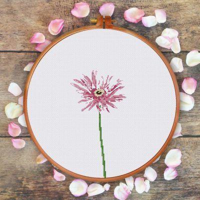 Minimalist pink daisy flower cross stitch pattern