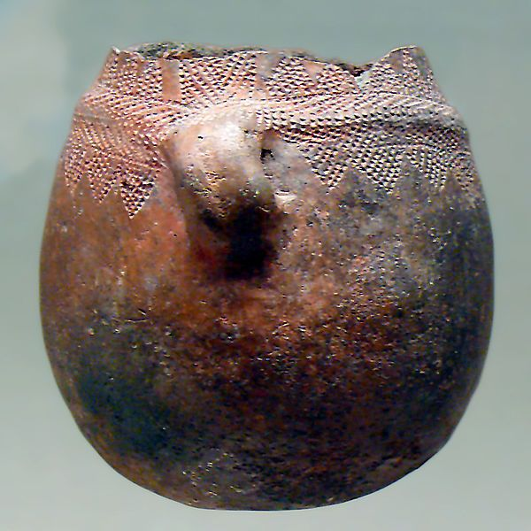 Mediterranean Neolithic Cardium or Cardial Culture extended from the Adriatic to Morocco named after a pervasive pottery technique that impressed the clay with the shells of the cardium edulis, a marine mollusk. or other sharp objects. In Iberia evidence for this culture goes as far back as 5600 BCE. This example was found in the La Sarsa Cave (Spain). The earliest examples are from Corfu 6400-6200 BCE.