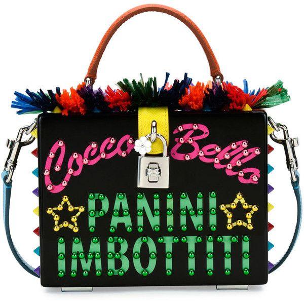 Dolce & Gabbana St. Dauphine Cocco Bella Box Top-Handle Bag ($4,145) ❤ liked on Polyvore featuring bags, handbags, shoulder bags, black pattern, print purse, wood handle bag, wooden purse, wooden handle handbags and print handbags