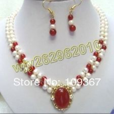 Красивая 2 ряда(ов) белый жемчуг и красный нефрит ожерелье серьги-подвески необычное мода свадебных ювелирные изделия женские комплект