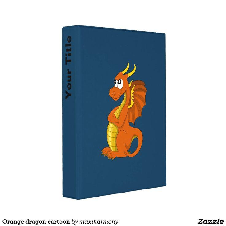 Orange dragon cartoon mini binder