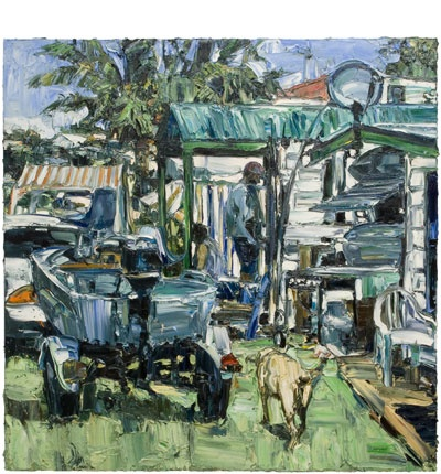 Caravan park (satellite dish and dog) 2006 Oil on Belgian linen - Nicholas Harding