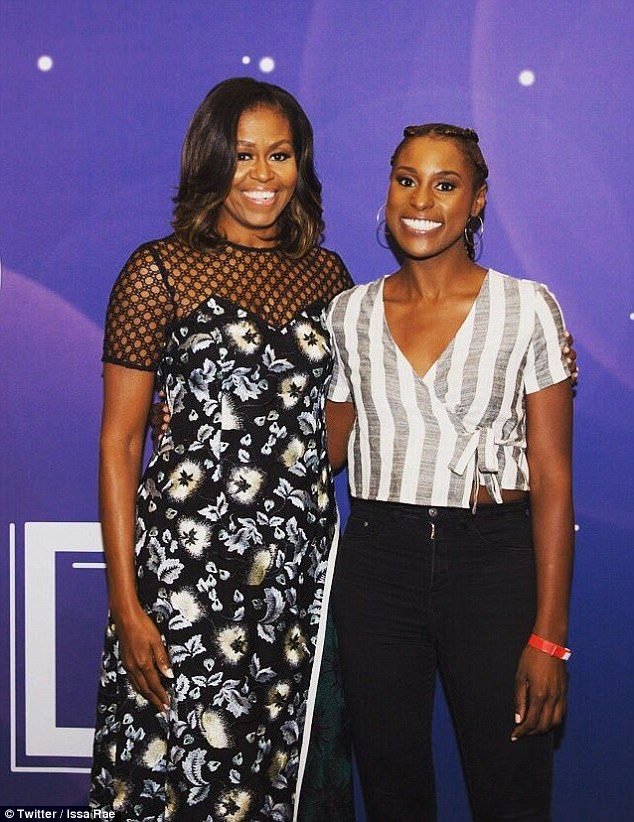 Michelle Obama said Wednesday that President Obama wouldn't be 'tweeting in the wing and stirring up [a] mess' like Donald Trump did when her husband was in the White House. Seen above at the Inbound Conference with Issa Rae