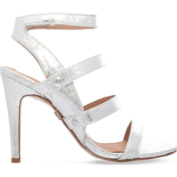 Kg Kurt Geiger July heeled sandals (£95) ❤ liked on Polyvore featuring shoes, sandals, genuine leather shoes, caged shoes, heeled sandals, caged heel sandals and zipper sandals