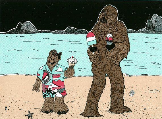 Chewbacca et Alf par GalaxiePop sur Etsy, $110.00