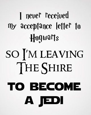 I'm sorry but hobbits aren't allowed in Hogwarts unless your a teacher Also if your not green you have no chance to become a Jedi So stay at the only place you can the shore or the prancing pony both could work