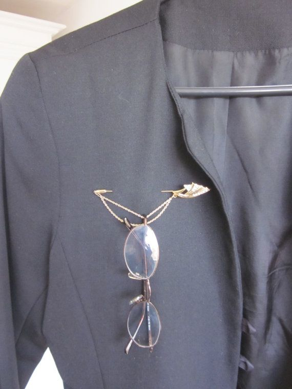 Vintage Eyeglass Stick Pin Holder Brooch Broach With By MagpieSue, $12.00