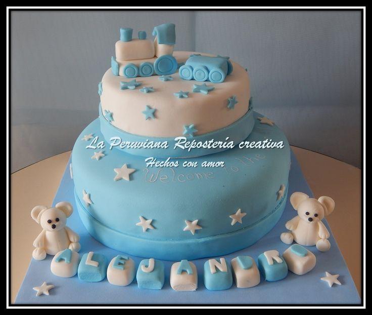 Torta Para Baby Shower Con Tren Y Ositos Tortas