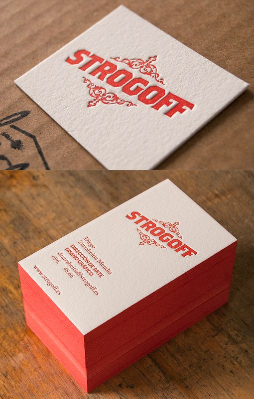 14 best red business cards images on pinterest carte de visite textured red edge painted letterpress business card reheart Images