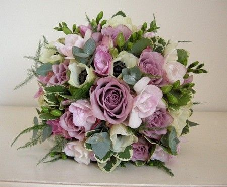 Memory Lane Roses, freesia and anemone. Beautiful vintage pink winter #bridalbouquet.  Design by Fiori By Lynne