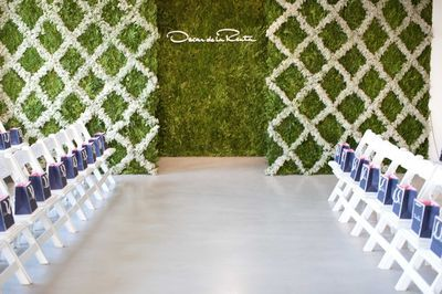 Moss and Flower lattice back drop for ceremony