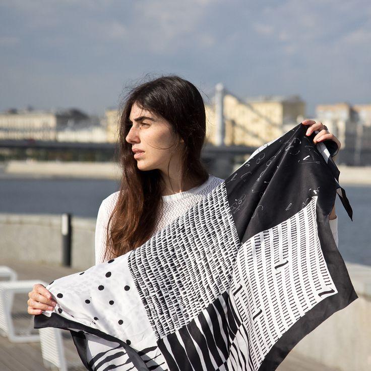 Платок «Симфония» / Silk scarf-calligraphy-accessories-fashion-mood-black and Whyte