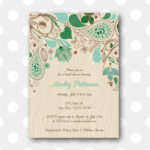 Printable Bridal Shower Invitation Woodsy by inglishdigidesign, $10.00