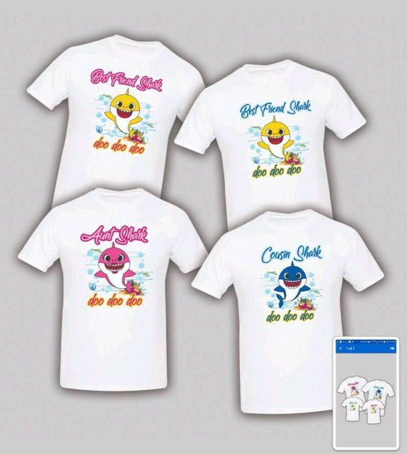 Baby Shark t shirt Christmas Birthday Matching Party Family Kid Reunion Mom