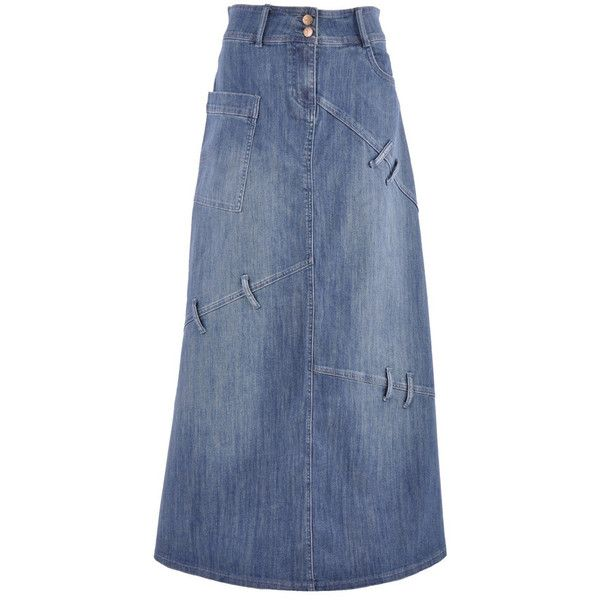 Loop Crazy Long Denim Skirt TA-0607 ❤ liked on Polyvore featuring ...