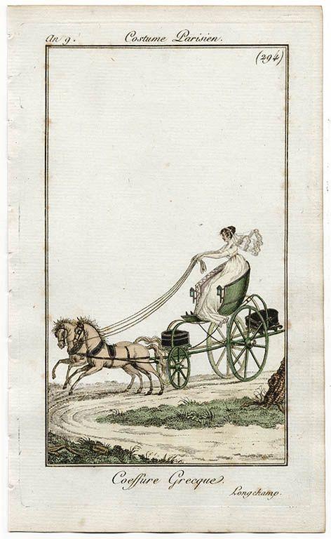 Self-driving a light carriage/ phaeton. Costume parisien, an 9, (1800-1)