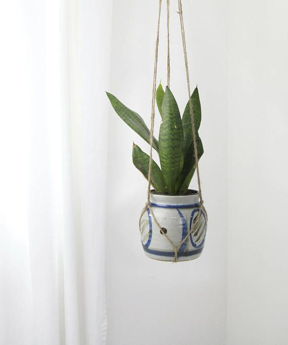 Handmade Ceramic Planter with Macrame