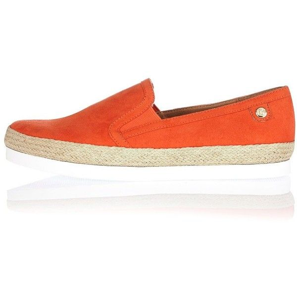 River Island Orange espadrille plimsoles ($48) ❤ liked on Polyvore featuring shoes, sneakers, canvas sneakers, pull on shoes, plimsoll shoes, espadrilles shoes and river island