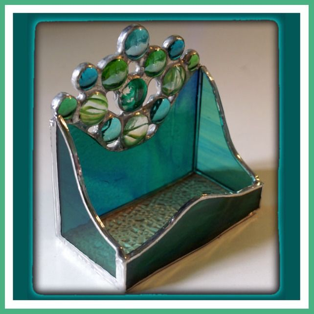 14 50 Business Card Holder Handmade Stained Glass Pea Blue With Nuggets