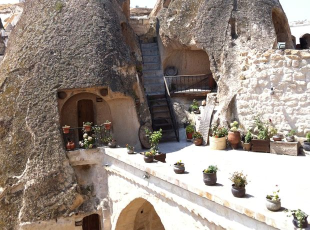 Amazing hotel built into the side of a mountain in Cappadocia. According to the reviewer, they have an amazing Turkish breakfast and a great cliffside pool.