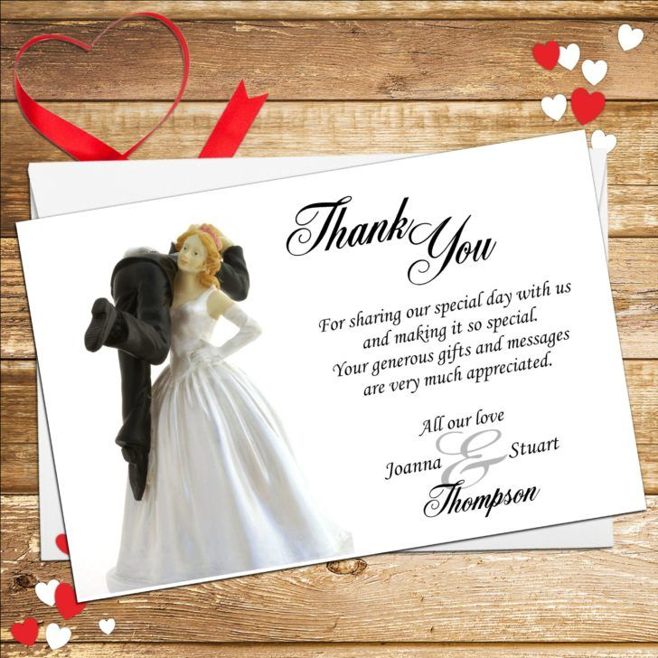 how to write thank you notes for wedding gift cards%0A Wedding  Personalised Bride and Groom Humour Wedding Thank You Card White  Italic Card Background