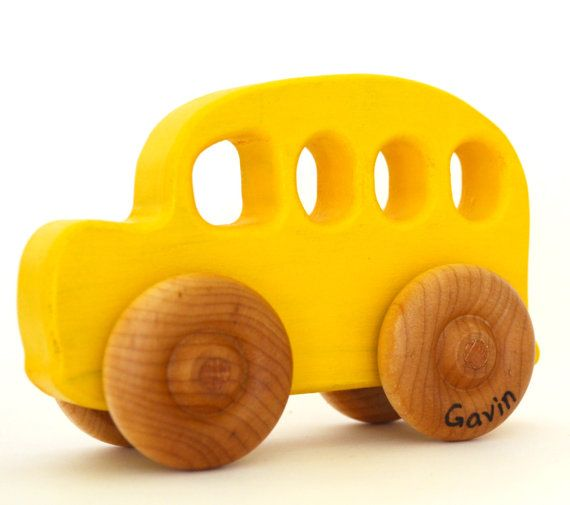 Wooden Toy School Bus  Personalized Wood Toy  Push by hcwoodcraft, $17.00