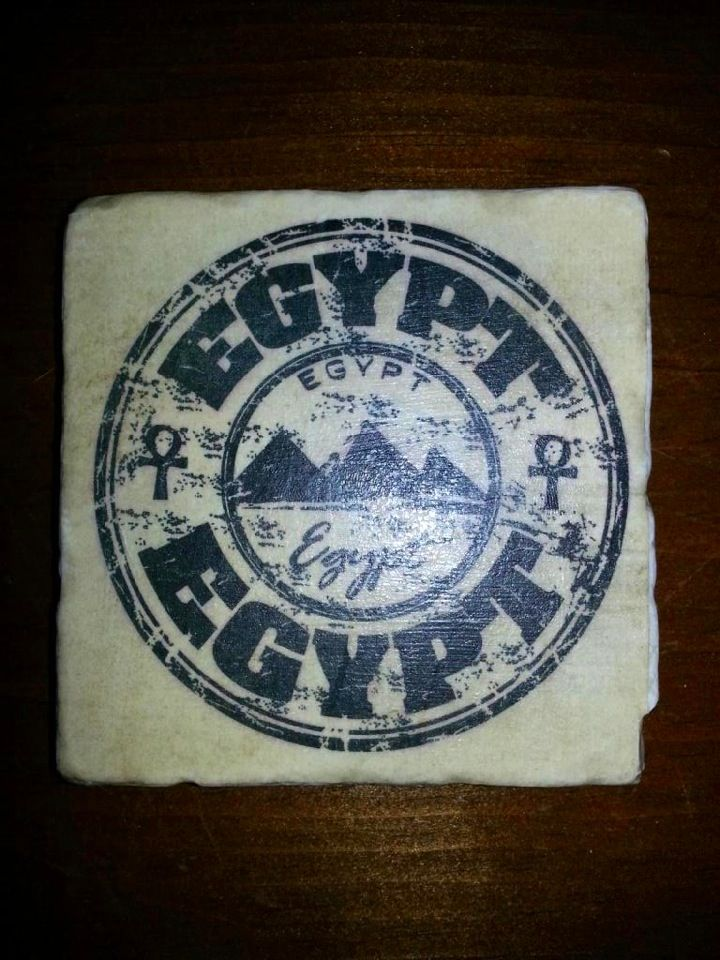 Travel Stamp of Egypt beverage coaster by 5 Creations Handmade Decor