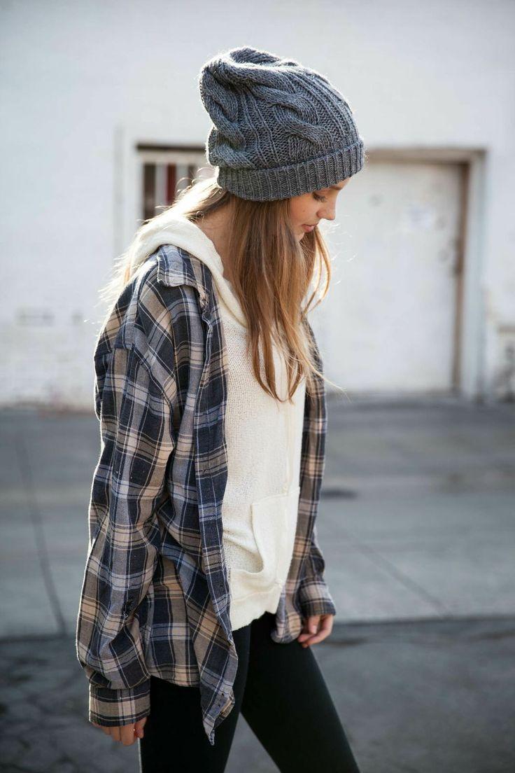Plaid shirt & beanie.