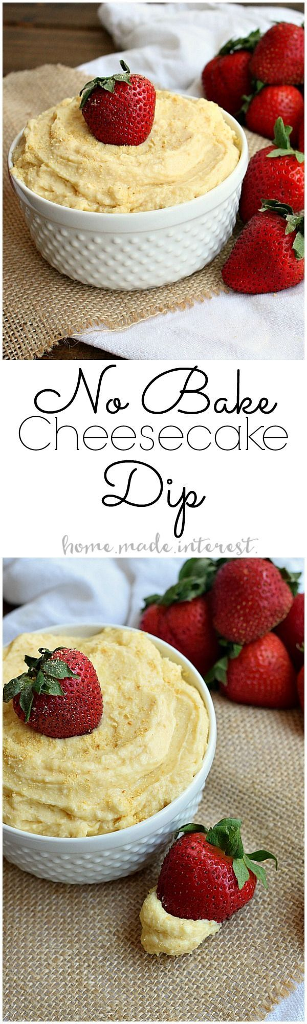 This easy dessert recipe requires no baking! No bake cheesecake dip is a simple party dip, or just a sweet snack for the family.