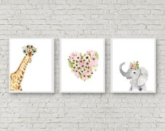Safari babies nursery set Animal Paintings elephant by zuhalkanar