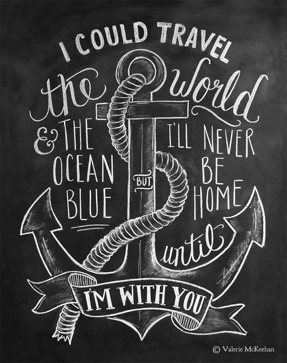 Nautical Print Travel Print Chalkboard Art Anchor door LilyandVal