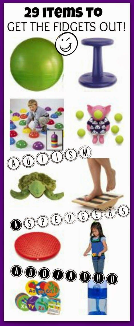 29 items to get the fidgets out! Fantastic for kid with autism, ADD, ADHD, or pretty much any middle school boy!