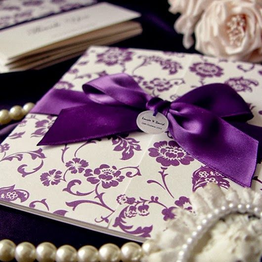 purple wedding invitations butterfly style