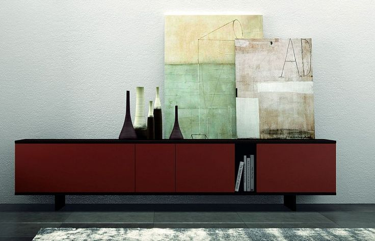 Modern Italain low sideboard 'Ziggurat Grey' by Orme