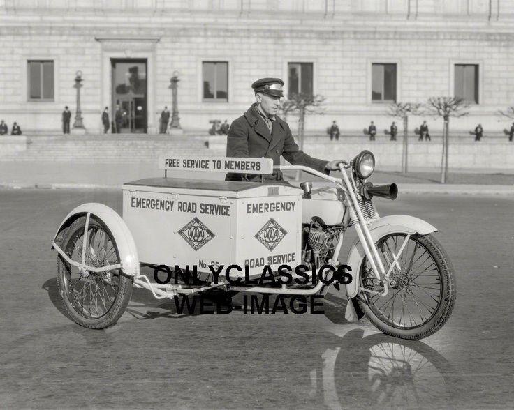 1925 HARLEY DAVIDSON SIDECAR MOTORCYCLE AAA ROAD SERVICE PHOTO SAN FRANCISCO CA