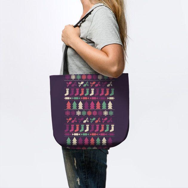 Christmas tote bag by Fimbis   __________________  Xmas, shopping, festive, pattern, bags, fashion, happy holidays,