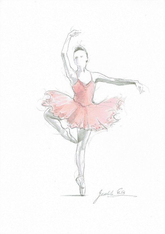 Satz 2 Drucke Ballerina Kunst rosa Ballerina Aquarell