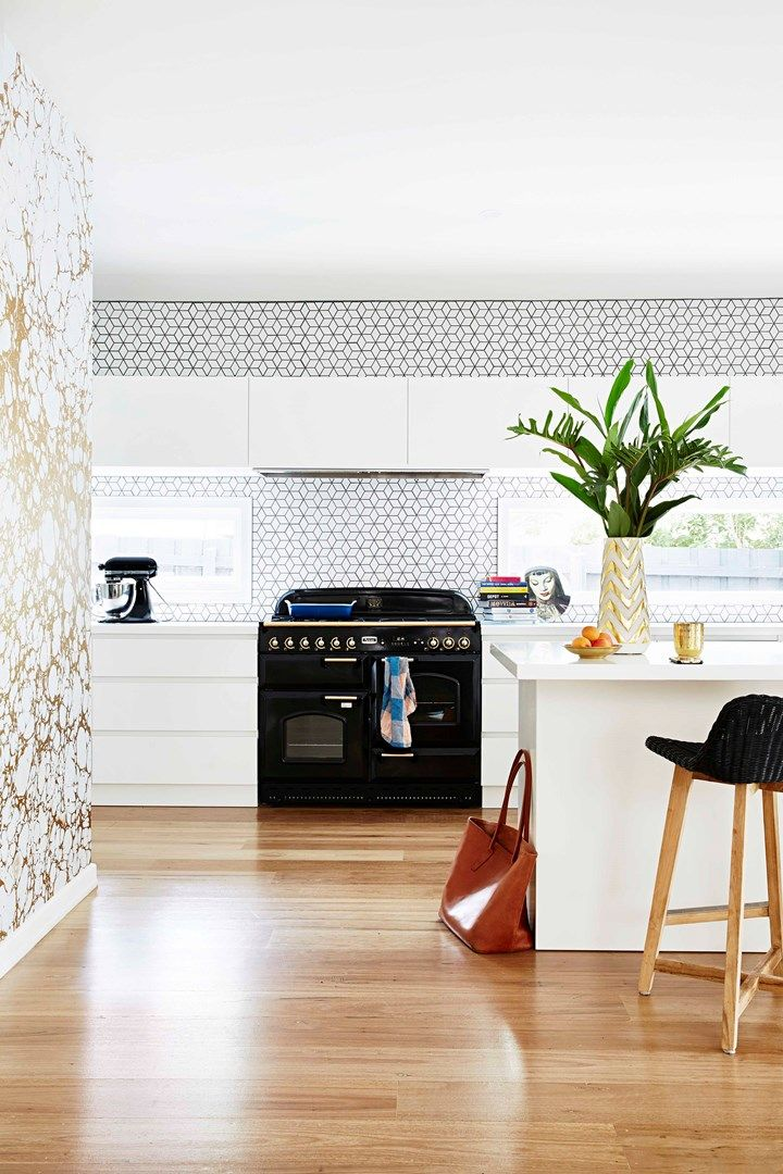 Kitchen with gold marble wallpaper | Home Beautiful Magazine Australia