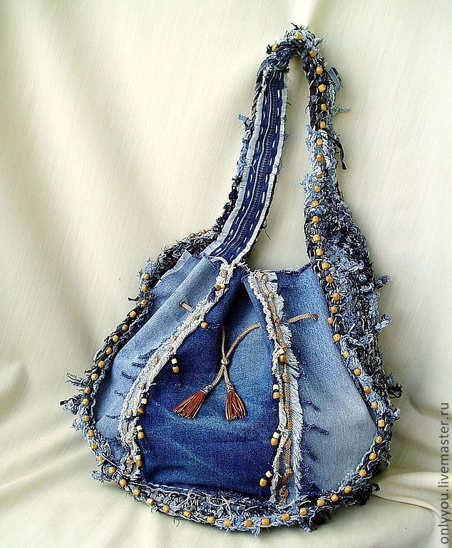Купить Джинсовая сумка «Дорогами странствий» - голубой, однотонный, джинса, хиппи, бохо, дорожная сумка