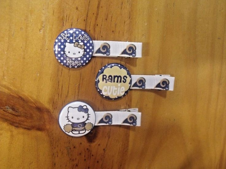Brand New Handmade boutique set of 3 Hello Kitty NFL Rams Lined Hair Clips #Handmade