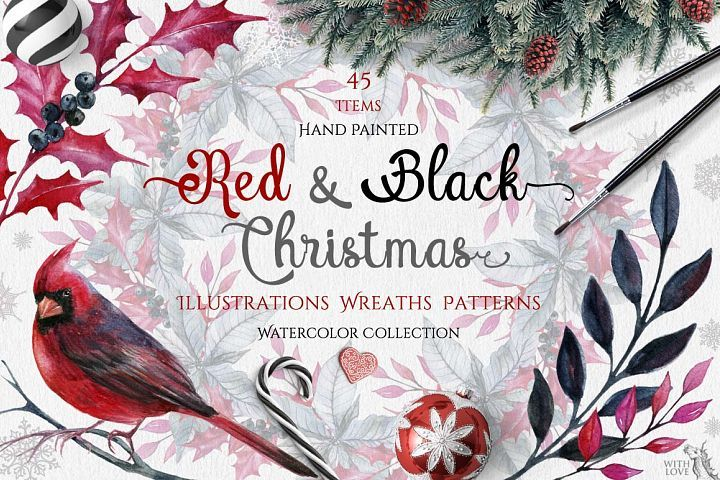 Watercolor Red & Black Christmas Set
