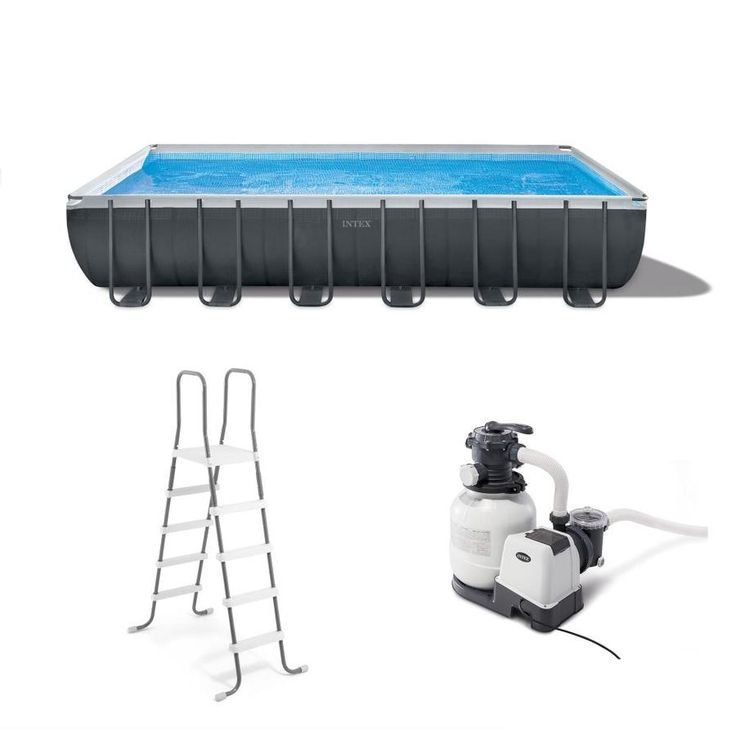 Intex 24 Ft X 12 Ft X 52 In Rectangle Above Ground Pool Lowes Com In 2020 Rectangular Swimming Pools Intex Rectangle Above Ground Pool