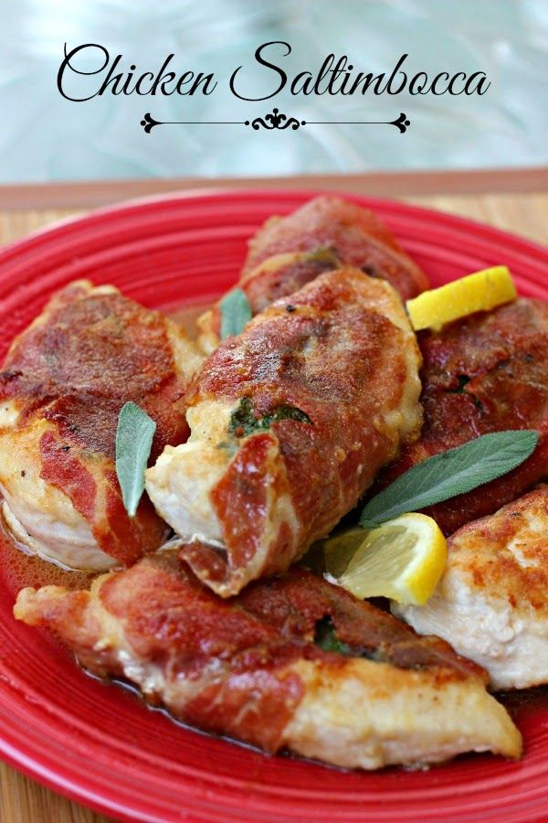 Chicken Saltimbocca: Prosciutto and Sage wrapped chicken cutlets served with a wine pan sauce!  Easy and delicious! #chicken #proscuitto