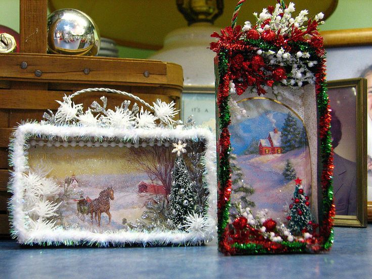 shadow boxes made from Christmas cards | Flickr - Photo Sharing! by the christmas notebook