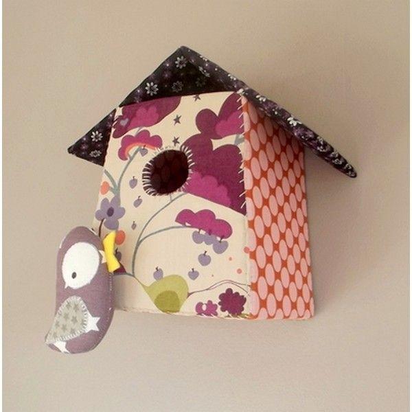 Nichoir avec petit oiseau pour chambre Bébé/enfant, tissus de créateurs et orange à pois rose - Réf.3